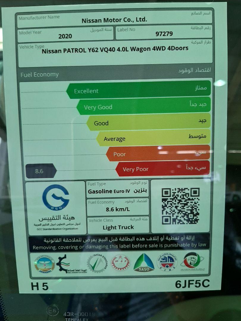 نيسان باترول بلاتينيوم 2020 سعودي فل جديد للبيع في الرياض - السعودية - صورة كبيرة - 6